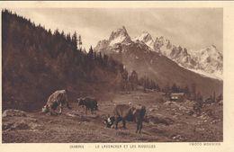 74 LE LAVANCHER ET LES AIGUILLES TROUPEAU DE VACHES EN PÂTURAGE VALLEE DE CHAMONIX MONT BLANC - Chamonix-Mont-Blanc