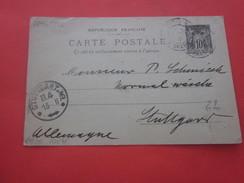 Timbre Type Sage 1896 - P12  Europe France  Entiers Postaux Paris 16--- Carte Postale 1901--Stuttgart DR - Entiers Postaux