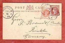 P 7 + ZF Koenigin Viktoria, London Nach Rinteln, AK-Stempel 1890 (40394) - Briefe U. Dokumente