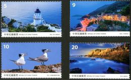 2017 Taiwan Scenery - Matsu Stamps Lighthouse Island Rock Crested Tern Migratory Bird Dinoflagellate - Marine Life