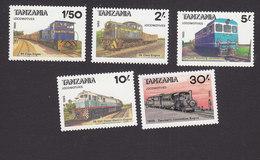 Tanzania, Scott #284-288, Mint Hinged, Train, Issued 1985 - Tanzania (1964-...)
