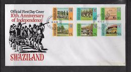 Swaziland 10 Anniversary Of Independence First Day Cover - Swaziland (1968-...)