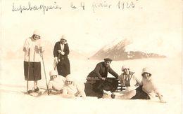 Cpa Carte-photo Cairol à Luchon (31), Jeunes Femmes Dans La Neige à Superbagnères En Février 1923, Luge Et Ski - Luchon