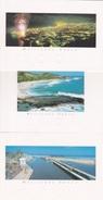 974 - ILE DE LA REUNION - 3 CARTES DE VOEUX 2001 DIFFÉRENTES VUES  ST DENIS  ST GILLES ET PLAGE BOUCAN CANOT - Réunion