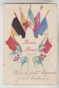 CPA MILITARIA DE BONNE ANNEE - Faisceau De 5 Drapeaux Alliés Date Manuscrite - Uniformes