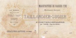 19 11 1928. PARTIE. TAILLANDIE-SUGIER MANUFACTURE DE RASOIRS FINS THIERS PUY DE DOME - Advertising
