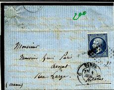 Lettre  Paris Reims Napoleon N°14 Bleu PC  200 - 1853-1860 Napoléon III