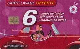 # Carte A Puce Portemonnaie  Lavage BP - Conductrice - Rose - 6u - Tres Bon Etat - - Autowäsche