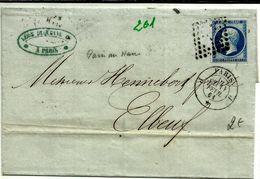 Lettre  Paris Elbeuf Napoleon N°14 Bleu PC  201 - 1853-1860 Napoléon III