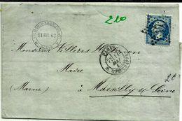 Lettre  Paris  Marcilly Sur Seine Napoleon  Bleu GC 17  210 - 1863-1870 Napoléon III Lauré