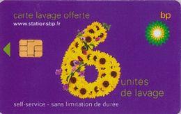 # Carte A Puce Portemonnaie  Lavage BP - Fleur - Violet - 6u - Puce1? - Offerte Non Gratté - Tres Bon Etat - - Frankrijk