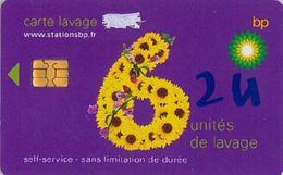 # Carte A Puce Portemonnaie  Lavage BP - Fleur - Violet - 6u - Puce2? - Offerte Gratté + 2u Marqueur - Tres Bon Etat - - Frankrijk