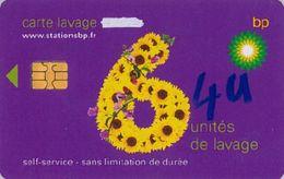 # Carte A Puce Portemonnaie  Lavage BP - Fleur - Violet - 6u - Puce2? - Offerte Gratté + 4u Marqueur - Tres Bon Etat - - Frankrijk