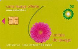# Carte A Puce Portemonnaie  Lavage BP - Fleur - Vert - 6u - Puce1? - Offerte Non Gratté - Tres Bon Etat - - Frankrijk