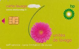 # Carte A Puce Portemonnaie  Lavage BP - Fleur - Vert - 6u - Puce1? - Offerte Gratté - Tres Bon Etat - - Frankrijk