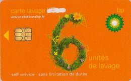 # Carte A Puce Portemonnaie  Lavage BP - Fleurs - Orange - 6u - Puce2? - Offerte Gratté - Tres Bon Etat - - Frankrijk