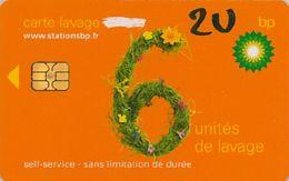 # Carte A Puce Portemonnaie  Lavage BP - Fleurs - Orange - 6u - Puce2? - Offerte Gratté + 2u Marqueur - Tres Bon Etat - - Frankrijk