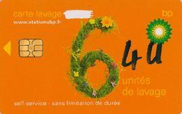 # Carte A Puce Portemonnaie  Lavage BP - Fleurs - Orange - 6u - Puce2? - Offerte Gratté + 4u Marqueur - Tres Bon Etat - - Frankrijk