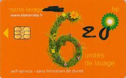 # Carte A Puce Portemonnaie  Lavage BP - Fleurs - Orange - 6u - Puce2? - Offerte Barré + 4u Marqueur - Tres Bon Etat - - Frankrijk