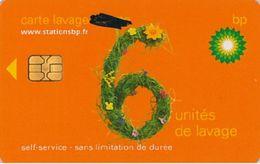# Carte A Puce Portemonnaie  Lavage BP - Fleurs - Orange - 6u - Puce2? - Offerte Barré Au Marqueur - Tres Bon Etat - - Frankrijk