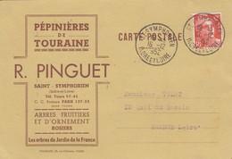 16 12 1952. CARTE PEPINIERE DE TOURAINE R.PINGUET ST SYMPHORIEN INDRE ET LOIRE. 12F GANDON SEUL - Publicités