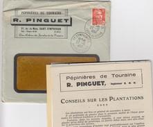 27 12 1952. LETTRE  PEPINIERE DE TOURAINE R.PINGUET ST SYMPHORIEN INDRE ET LOIRE. 12F GANDON SEUL FASCICULES PUBLICITES - Advertising