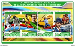 TOGO 2017 - P. De Coubertin, Fencing. Official Issue. - Fencing