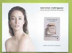 NARCISO RODRIGUEZ * POUDRE * DOUBLE CARD *  + PATCH * . 8 X 12  CM + 1 EXEMPL: - Modernas (desde 1961)