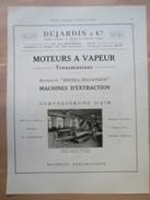 1922 - DUJARDIN  Lille -  Construction MOTEUR A VAPEUR  Filature Bouteny à Lannoy  - Page Originale MACHINE Industrielle - Machines