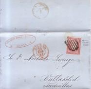 Año 1856 Edifil 48 4c Sello Isabel II Carta Matasellos Rejilla Y  Rojo Bilbao - 1850-68 Königreich: Isabella II.