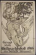 CP. Miliaria Aviation: Gruss Vom Weihnachtsfest 1916 Der M.G.D. Brussel. A. Schoenman - Humoristiques