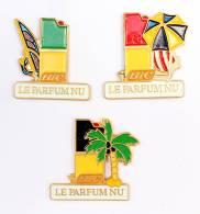 Lot De 3 Pin's BIC - LE PARFUM NU - Briquet - Planche à Voile  - Palmier - Parasol - G742 - Badges