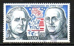 FRANCE. N°1879 Oblitéré De 1976. Indépendance Des U.S.A./Franklin. - Unabhängigkeit USA
