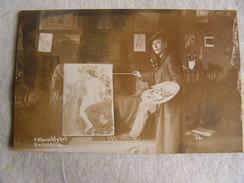 1 Carte Photo Ww1 Fritz Albrecht Camp Karlsruhe Allemagne Peintre Tableau N° 30 - Guerre 1914-18