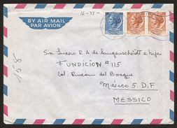 A) 1965 ITALY, TURRITA, MULTIPLE STAMPS,  AIRMAIL, CIRCULATED COVER FROM ROME TO MEXICO D.F. - 1946-.. Republiek