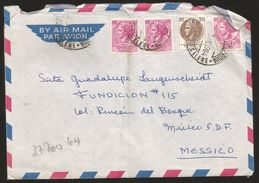 A) 1964 ITALY, TURRITA 100, 40, MULTIPLE STAMPS, AIRMAIL, CIRCULATED COVER FROM ROME TO MEXICO D.F. - 1946-.. Republiek