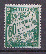 N° 38 Taxes 1 Timbre 60c Vert 0live : Timbre  Neuf Impeccable Sans Charnière - 1859-1955 Nuovi