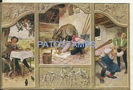 76362 ART ARTE SIGNED PAUL HEY MAN DRINK DONKEY MULTI VIEW POSTAL POSTCARD - Illustratoren & Fotografen