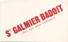 Buvard  St Galmier Badoit ( Pliures ) 21 Cm X 13,5 Cm - Blotters
