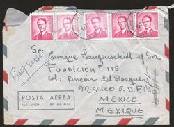 A) 1964 BELGIUM, KING BAUDOUIN, ROYAL MAIL, AIRMAIL, CIRCULATED COVER FROM BELGIUM TO MEXICO. - Airmail
