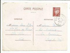 OBLITERATION MANUELLE SUR ENTIER PETAIN DE LILLE-FIVES NORD DU 30/12/1942 - Postmark Collection (Covers)