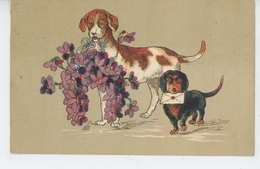 CHIENS - DOG - Jolie Carte Fantaisie Gaufrée Chiens Et Fleurs (embossed Postcard) - Chiens
