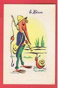 ILLUSTRATEUR ROLAND FORGUES LE HERON FABLE DE LA FONTAINE LABORATOIRES CLEVENOT 3 RUE LAMBLARDIE PARIS 12 - Künstlerkarten