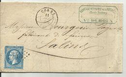 Lettre Corre 11 Novembre 1864 Pour Salins (Jura) Losange GC1143 - 1849-1876: Classic Period