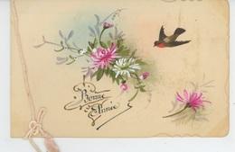"""FLEURS - Jolie Carte Fantaisie Fleurs Et Oiseau De """"Bonne Année """" - Nouvel An"""