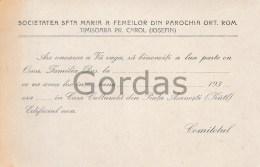 Romania - Timisoara - Societatea Sfanta Maria A Femeilor - Announcements