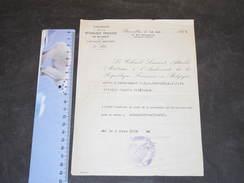 AMBASSADE DE FRANCE A BRUXELLES-AUTORISATION AU LIEUTENANT LIENARD DE PORTER SON UNIFORME 5/6/38 Mentions Au Dos+cachets - Unclassified