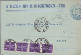 1946 Avviso Di Ricevimento Privato Con Striscia Di 4x1L. Di Posta Aerea  (2 Foto) - 6. 1946-.. Repubblica