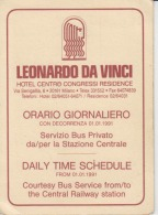 Italy Leonardo Da Vinci Hotel Milano Daily Time Schedule 1991 Bus Service From The Central Station - Europe