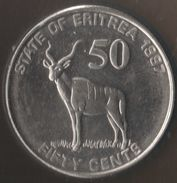ERITREA 50 CENTS 1997 KM# 47 ANIMAL Antelope - Greater Kudu - Erythrée